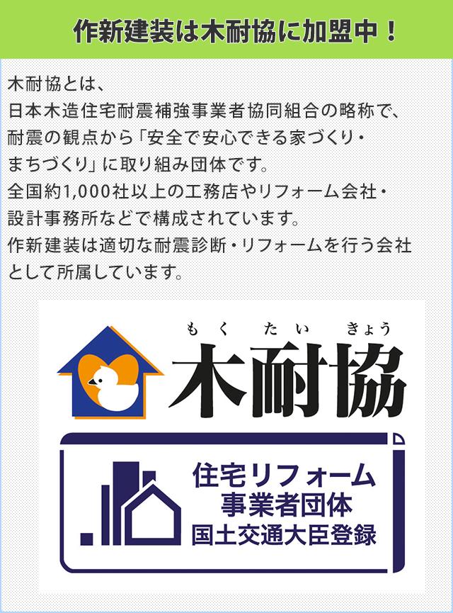 作新建装は木耐協に加盟しています!   木耐協とは日本木造住宅耐震補強事業者協同組合の略称で、耐震の観点から「安全で安心できる家づくり・まちづくり」に取り組み団体です。全国約1,000社以上の工務店やリフォーム会社・設計事務所などで構成されています。作新建装は適切な耐震診断・リフォームを行う会社として所属しています。